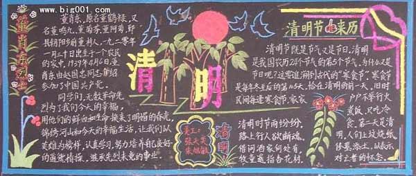 山东省清明节习俗的黑板报