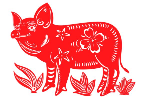 2019猪年剪纸图案